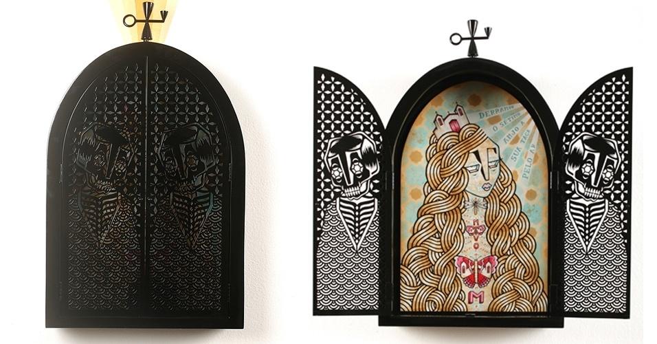 Obras de Stephan Doitschinoff que integraram a exposição Novo Mundo, em 2010
