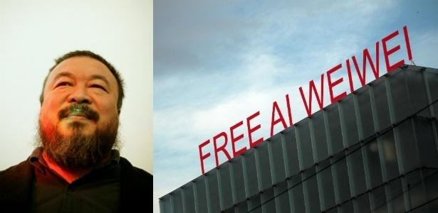 O artista chinês Ai Weiwei em 2009 (esq.) e frase pedindo a liberdade do artista, que foi preso em 2011, em topo de prédio na Áustria onde ocorreu exposição sobre seu trabalho - Montagem UOL / Miguel Villagran/Johannes Simon/Getty Images