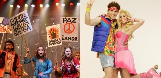 """Musicais """"Hair"""" (à esq.) e """"Xanadu"""" (à dir.) são exibidos nesta sexta em São Paulo e Rio - Divulgação/Fotomontagem/UOL"""