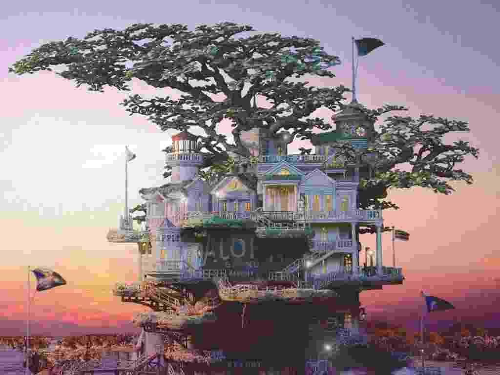 Aiba, um ilustrador especializado em labirintos, passou os últimos dez anos desenvolvendo os bonsais - Takanori Aiba