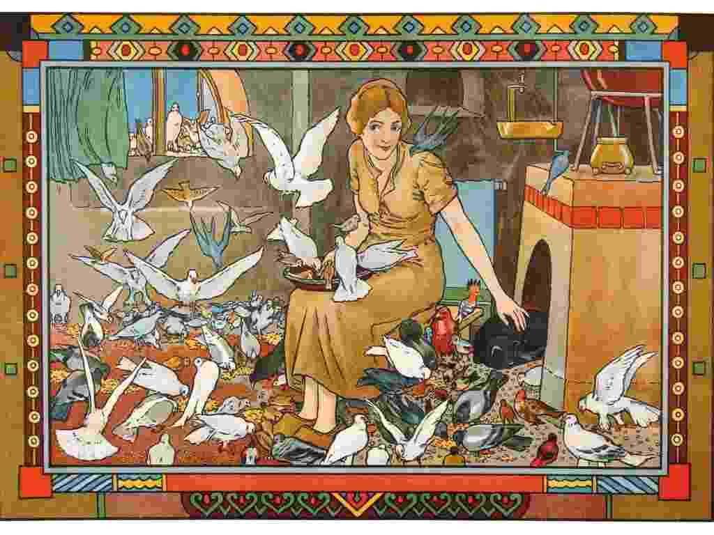 """O livro comemora 200 anos da primeira publicação de """"Contos da Criança e do Lar"""" (em tradução literal), que reunia as principais histórias coletadas pelos pesquisadores na Europa. Na foto, uma ilustração para """"Cinderela"""", feita em 1910 por Hanns Acker - Cortesia da Sociedade Irmãos Grimm/Taschen"""