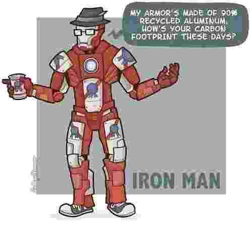 """O College Humor fez uma série onde mostra super-heróis com personalidade """"moderninha"""". Nesta imagem, o Homem de Ferro diz que sua armadura é feita com 90% de alumínio reciclado e ainda pergunta como anda sua impressora a carbono - Reprodução/CollegeHumor"""