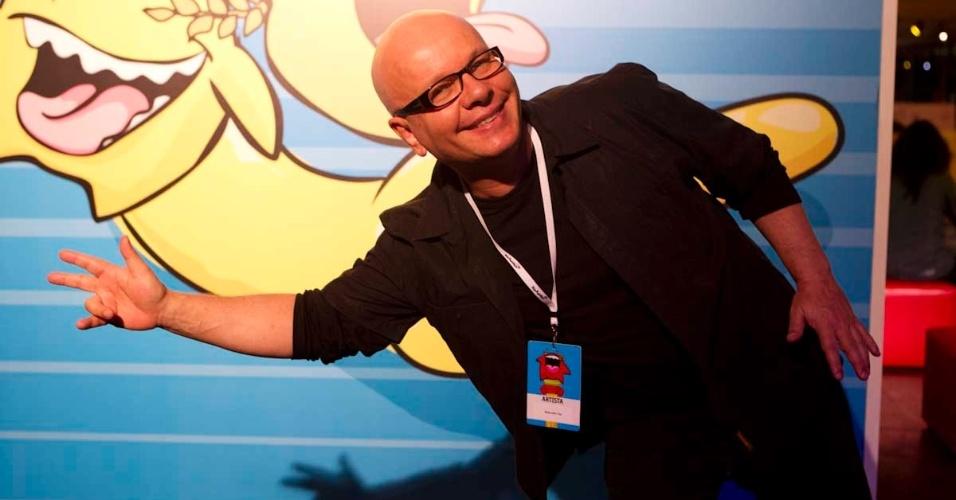 O jornalista Marcelo Tas na estreia do festival de humor Risadaria 2012, no Pavilhão da Bienal, em São Paulo (21/3/12)